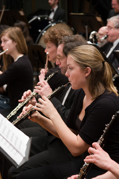 (R-to-L) Carolyn Davies, Paul Stapp, oboe, Karen Yanson, Chelsea Rinnig, flute -- Hopkins Symphony Orchestra, March 2008