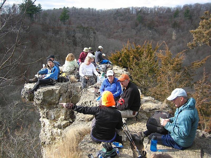 Lunch time at Inspiration Point Whitewater SP MN.... Yes, they went that-a-way.....