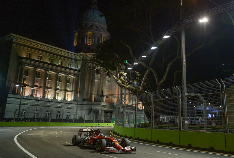 . Ferrari\'s Spanish driver Fernando Alonso steers his car during the second practice session of the Formula One Singapore Grand Prix at the Marina Bay Street circuit on September 19, 2014. The Singapore Grand Prix will take place on September 21. MOHD RASFAN/AFP/Getty Images