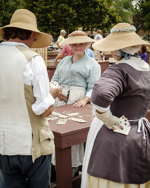 Colonial Re-Enactors Playing Traditional Card Game