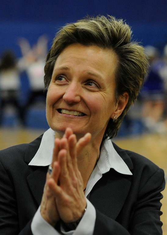 . PARKER, CO. - FEBRUARY 15: The Highlands Ranch High School girls\'s basketball team defeated Legend 76-31 Friday night, February 15, 2013. Falcon\'s coach Caryn Jarocki thanked the fans that cheered her following her 500th career win. (Photo By Karl Gehring/The Denver Post)
