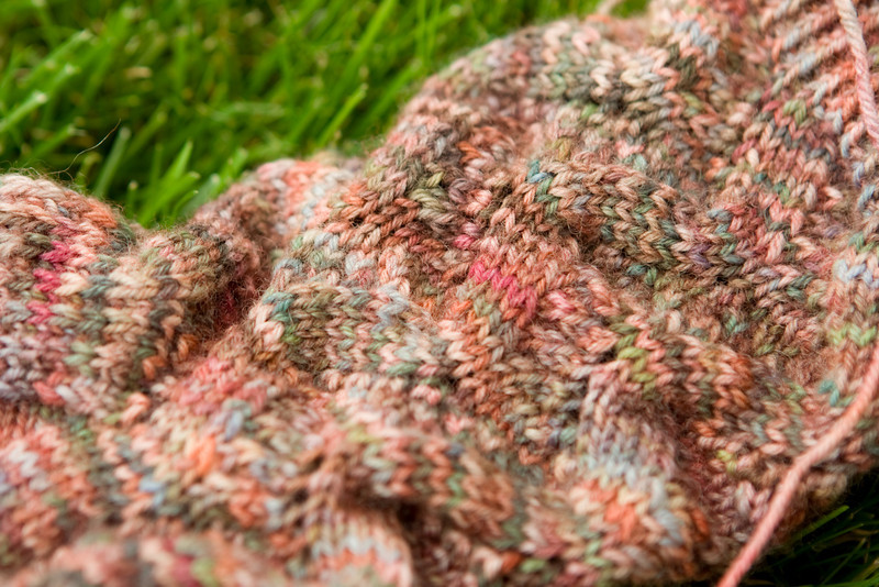 Spring Forward socks by Linda Welch, in Auracania Ranco Multi. I think I love this colorway.