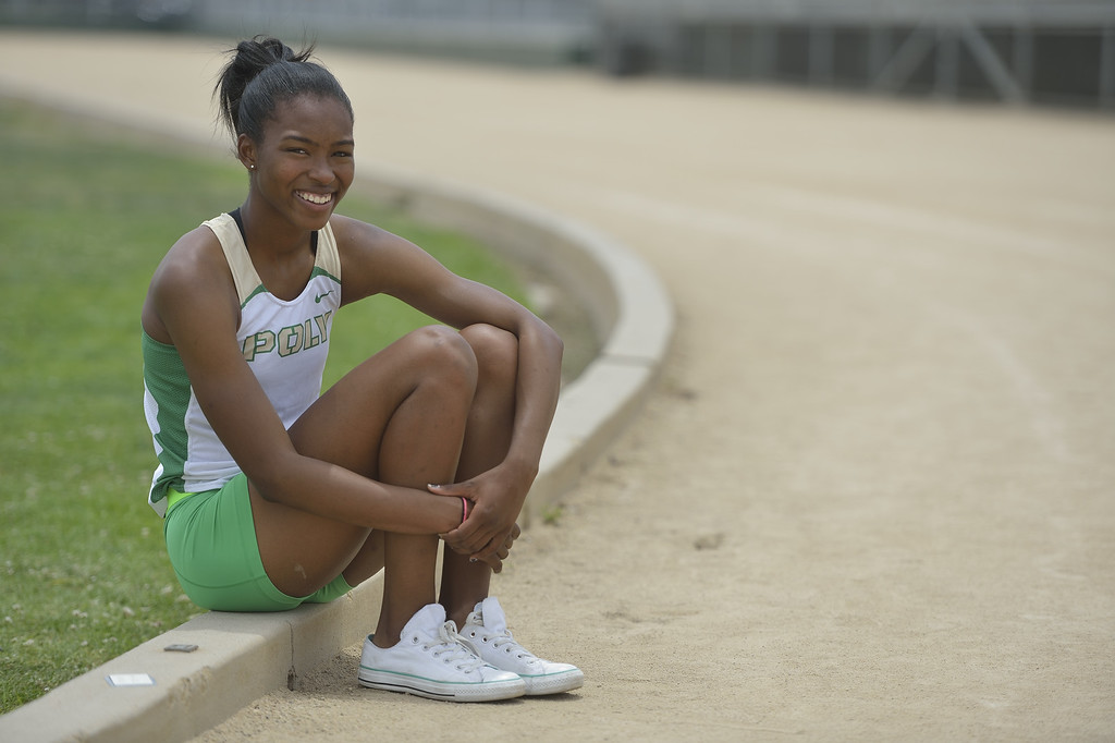 . LONG BEACH, CALIF. USA -- Press-Telegram girls All-Area Track Athlete of the Year Ariana Washington of Poly High School in Long Beach, Calif., on June 11, 2013. Photo by Jeff Gritchen / Los Angeles Newspaper Group