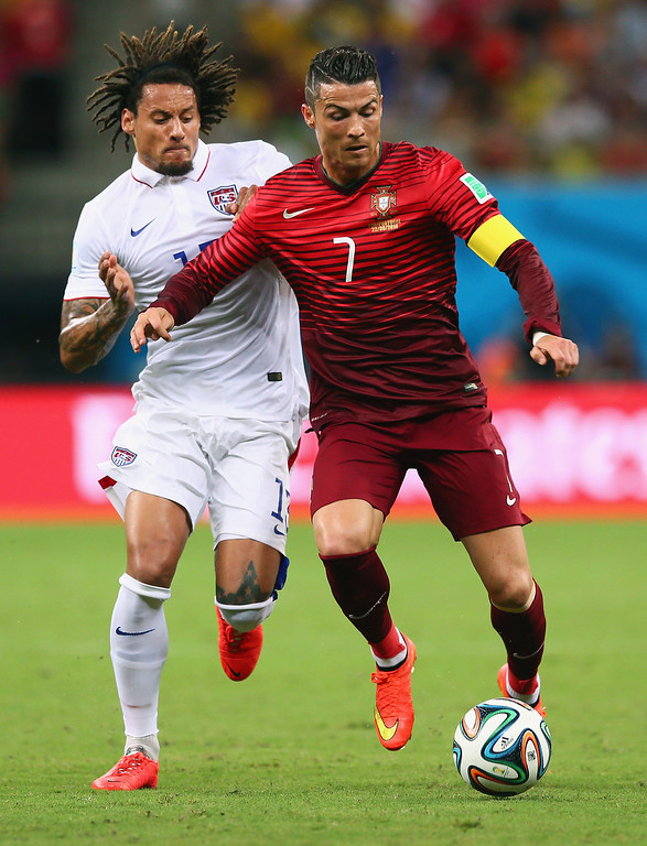 . Jermaine Jones of the United States challenges Cristiano Ronaldo of Portugal during the 2014 FIFA World Cup Brazil Group G match between the United States and Portugal at Arena Amazonia on June 22, 2014 in Manaus, Brazil.  (Photo by Kevin C. Cox/Getty Images)