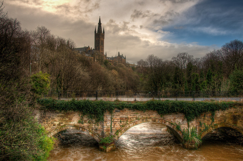 Bridge at Kelvingrove Park in Glasgow, Scotland