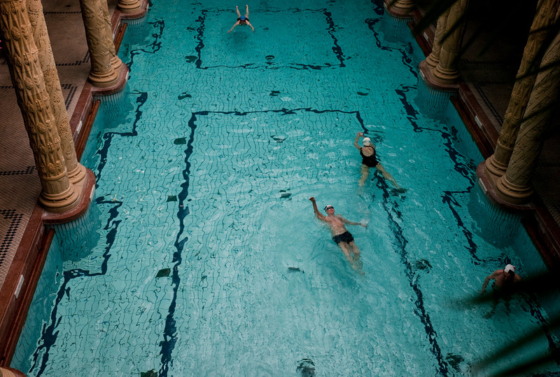 March , 2012, Budapest, Hungary -  Swimming pool with two storey high columns at the Gellert hotel and SPA.    Budapest is known as the SPA Capital of the world.  Nearly 120 hot springs feed the city's historic thermal baths (Furdo) and approximately 70 million litres of water used every day.