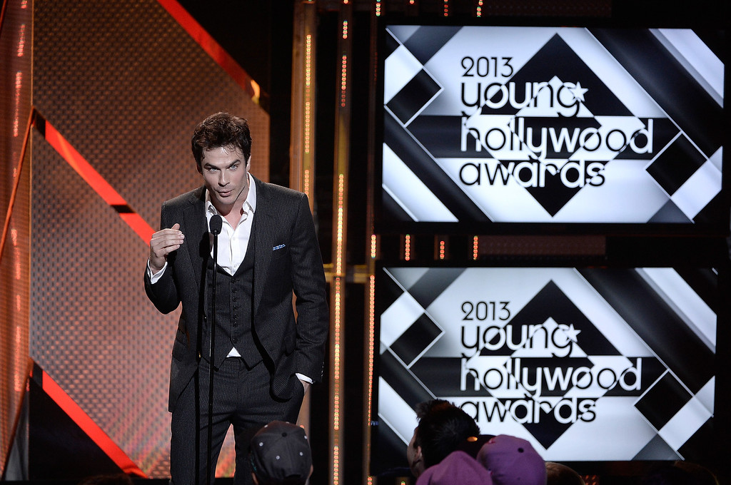 . Actor Ian Somerhalder speaks on stage at CW Network\'s 2013 Young Hollywood Awards presented by Crest 3D White and SodaStream held at The Broad Stage on August 1, 2013 in Santa Monica, California.  (Photo by Kevin Winter/Getty Images for PMC)