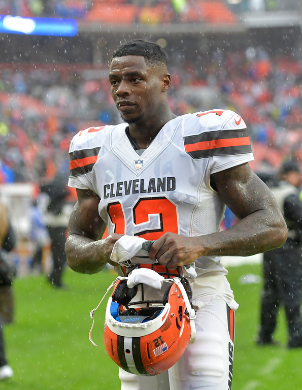 . Cleveland Browns wide receiver Josh Gordon walks off the field after an NFL football game, Sunday, Sept. 9, 2018, in Cleveland. The Browns and the Steelers tied at 21. (AP Photo/David Richard)