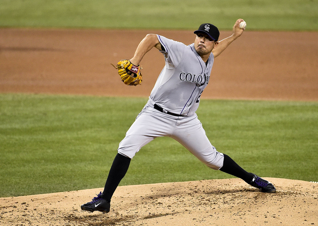. SAN DIEGO, CA - SEPTEMBER 23:  Jorge De La Rosa #29 of the Colorado Rockies pitches during the second inning of a baseball game against the San Diego Padres at Petco Park September, 23, 2014 in San Diego, California.  (Photo by Denis Poroy/Getty Images)