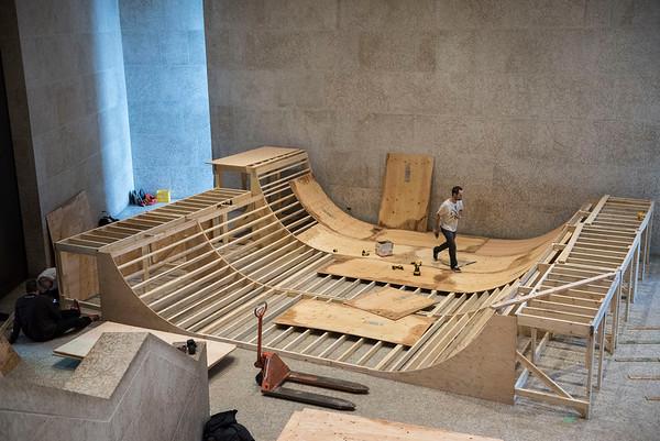 Sneak peak of skate ramp construction for Skate, Snow, Surf, Two Boarding Shows Celebrating Indigenous Art at the Winnipeg Art Gallery November 17, 2016  (David Lipnowski for Metro News)