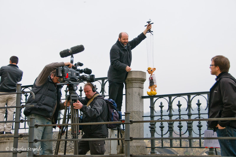 Film crew shooting marionettes in Prague