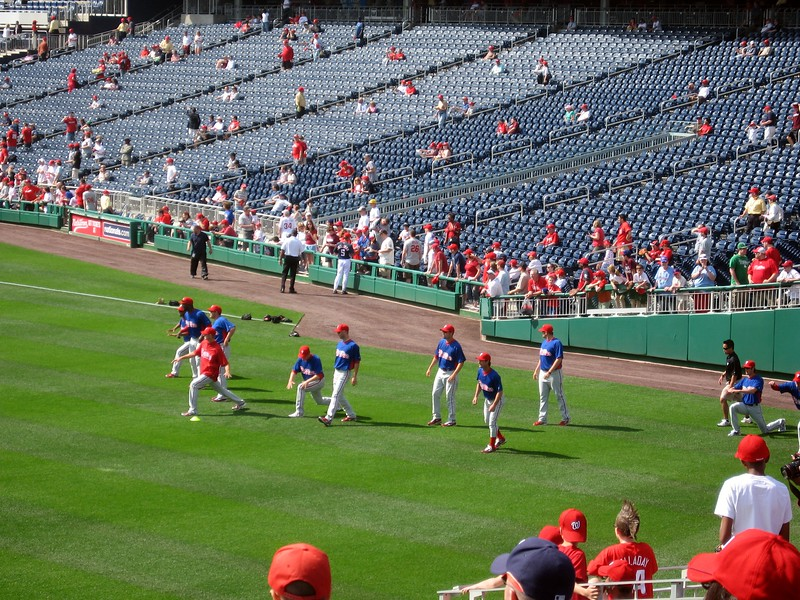 The Phillies warm up in left field during batting practice