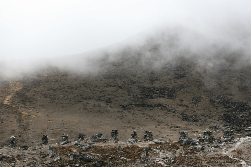 Chortens constructed for Sherpas lost in expeditions over the years