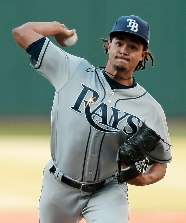 . Tampa Bay Rays starting pitcher Chris Archer delivers in the first inning of a baseball game against the Cleveland Indians, Monday, May 15, 2017, in Cleveland. (AP Photo/Tony Dejak)