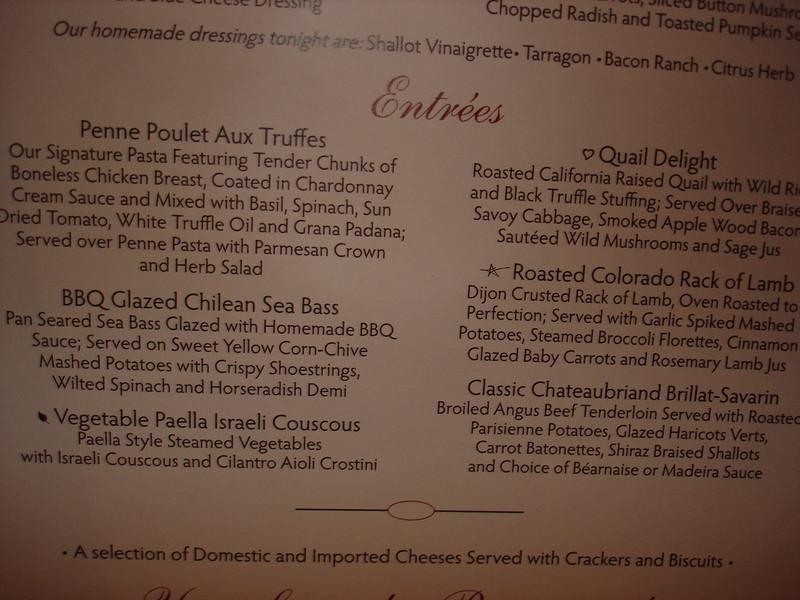 Dinner menu, day 2 (formal night)