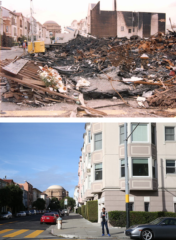 . SAN FRANCISCO, CA - OCTOBER 15: In this before-and-after composite image, (Top) A worker surveys the damage caused by the fire in San Francisco\'s Marina District after the Loma Prieta earthquake struck on October 17, 1989 in San Francisco, California. (Photo by FEMA News Photo via Getty Images)   SAN FRANCISCO, CA - OCTOBER 15: (Bottom) A man waits for a bus on the corner of Beach and Divisadero on October 15, 2014 in San Francisco, California. It has been 25 years since the 6.9 Loma Prieta earthquake rocked the San Francisco Bay Area at 5:04PM on October 17, 1989 causing widespread damage to buildings and roadways. 63 people died and nearly 4,000 were injured. (Photo by Justin Sullivan/Getty Images)