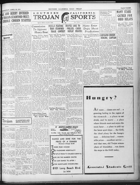 Daily Trojan, Vol. 22, No. 132, April 29, 1931