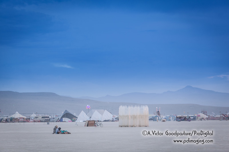 One of the more interesting parts of Burning Man is when people simply camp out in the middle of the playa to read, sleep, meditate or anything else.