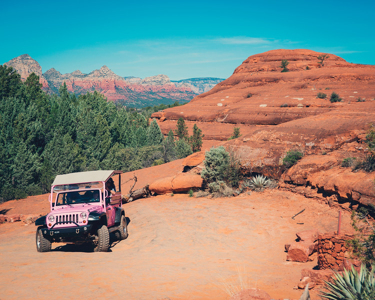 Pink Jeep and Red Rocks