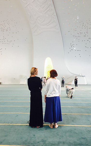 Experiencing a beautiful mosque at Education City in Qatar with Karen - Bridget St. Clair