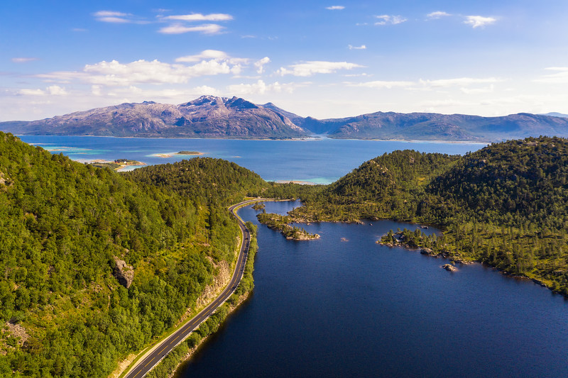 Aerial view of a road going through Lofoten Islands in Norway