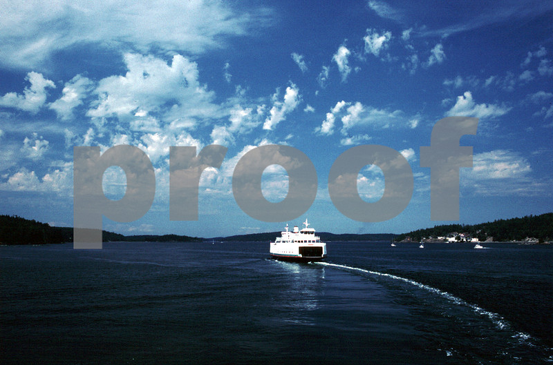 A Washington State ferry glides across Puget Sound carrying passengers to the San Juan Islands.