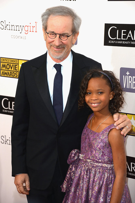 . Director Steven Spielberg and actress Quvenzhané Wallis  arrive at the 18th Annual Critics\' Choice Movie Awards at Barker Hangar on January 10, 2013 in Santa Monica, California.  (Photo by Frazer Harrison/Getty Images)
