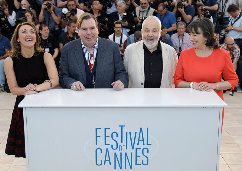 . From left, actress Dorothy Atkinson, actor Timothy Spall, director Mike Leigh and actress Marion Bailey pose for photographers during a photo call for Mr. Turner at the 67th international film festival, Cannes, southern France, Thursday, May 15, 2014. (AP Photo/Thibault Camus)