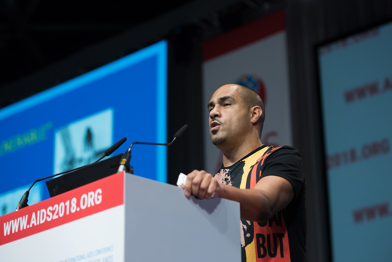 22nd International AIDS Conference (AIDS 2018) Amsterdam, Netherlands   Copyright: Marcus Rose/IAS  Photo shows: Plenary Session. Making the treatment cascade work in vulnerable and key populations David Malebranche, Morehouse School of Medicine, United States