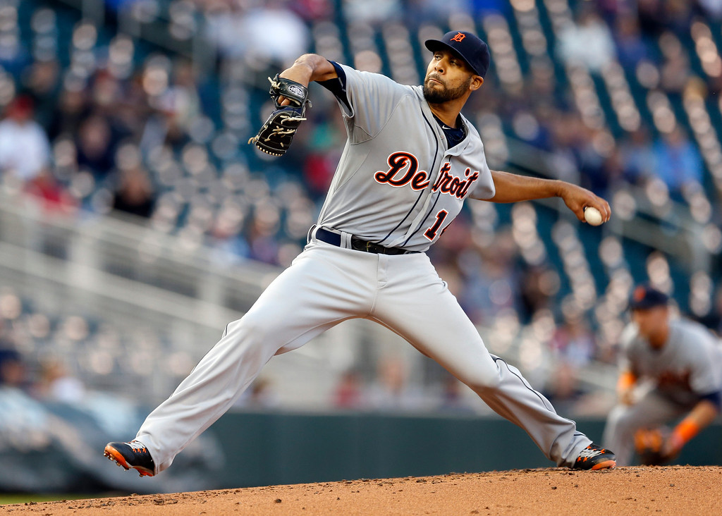 . Detroit Tigers pitcher David Price throws against the Minnesota Twins in the first inning of a baseball game, Monday, April 27, 2015, in Minneapolis. (AP Photo/Jim Mone)
