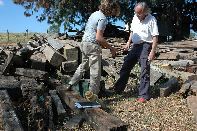 Marcel and Julian Maison going through the stock of reclaimed wood and creating new pieces from them.
