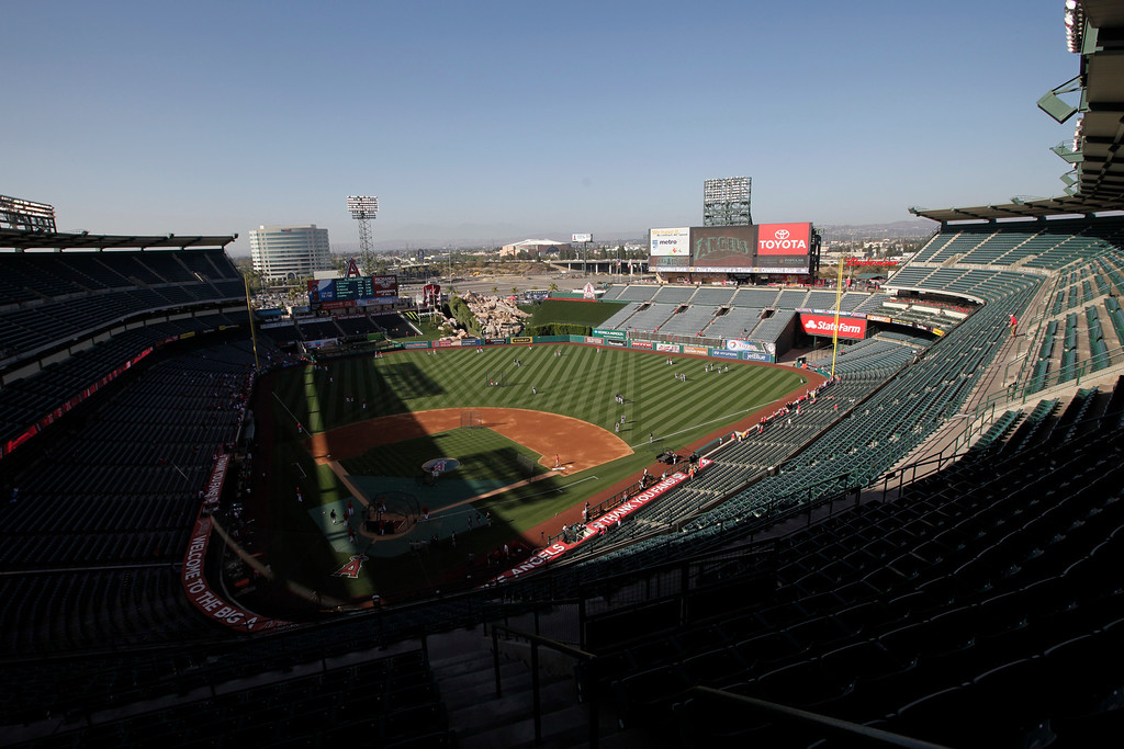 . An overall view of Angels Stadium is seen before a baseball game between the Los Angeles Angels and the Seattle Mariners in Anaheim, Calif., Tuesday, June 18, 2013. (AP Photo/Jae C. Hong)