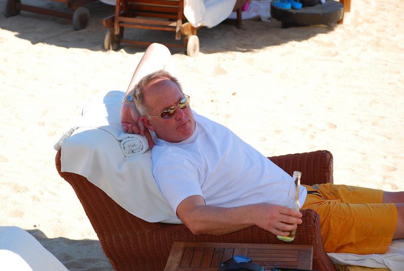 Sandy enjoying a cervesa on the beach at Fiesta Americana Hotel and Resort, Cabo San Lucas Mexico