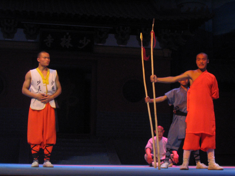 This guy pressed the spears into his chest, bending the the bamboo polls.