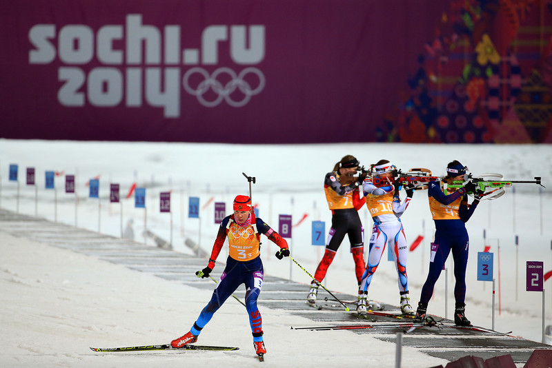 . Ekaterina Shumilova of Russia leaves the shooting range during the Women\'s 4 x 6 km Relay during day 14 of the Sochi 2014 Winter Olympics at Laura Cross-country Ski & Biathlon Center on February 21, 2014 in Sochi, Russia.  (Photo by Richard Heathcote/Getty Images)