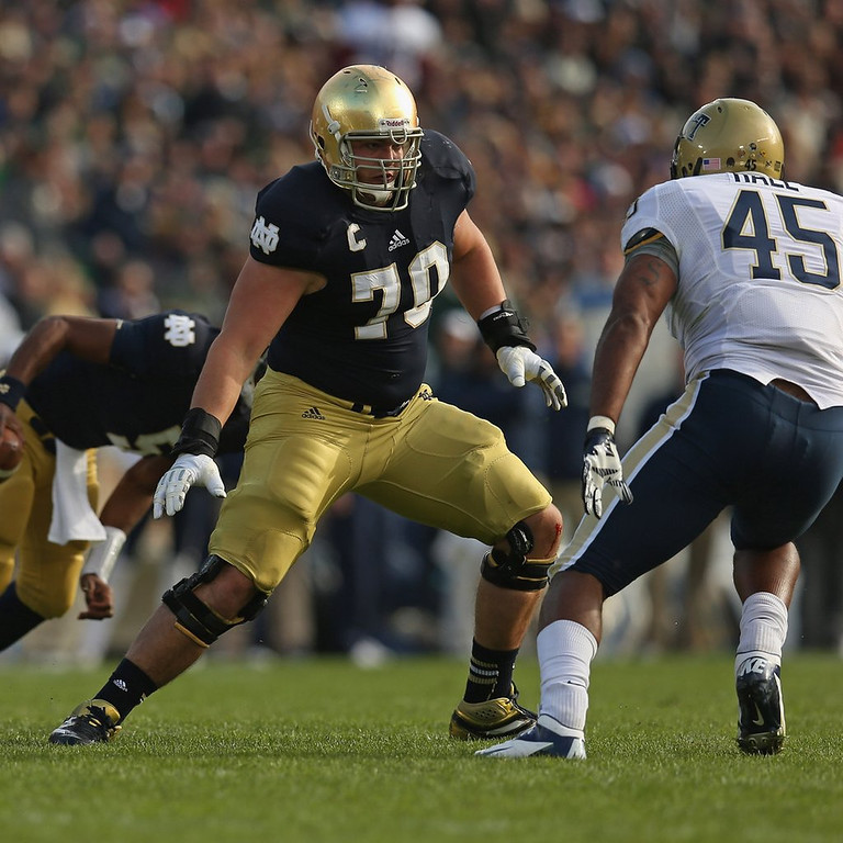 . <p><b>17. Baltimore: Zack Martin, OT, Notre Dame. </b> <p>Martin was the first offensive lineman to be named a bowl MVP (Pinstripe) in 50 years. To say he closed the season with some momentum would be an understatement.   (Jonathan Daniel/Getty Images)