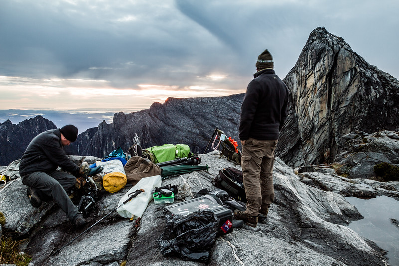 A scattering of film kit around the rim of Low's Gully, Mt Kinabalu.