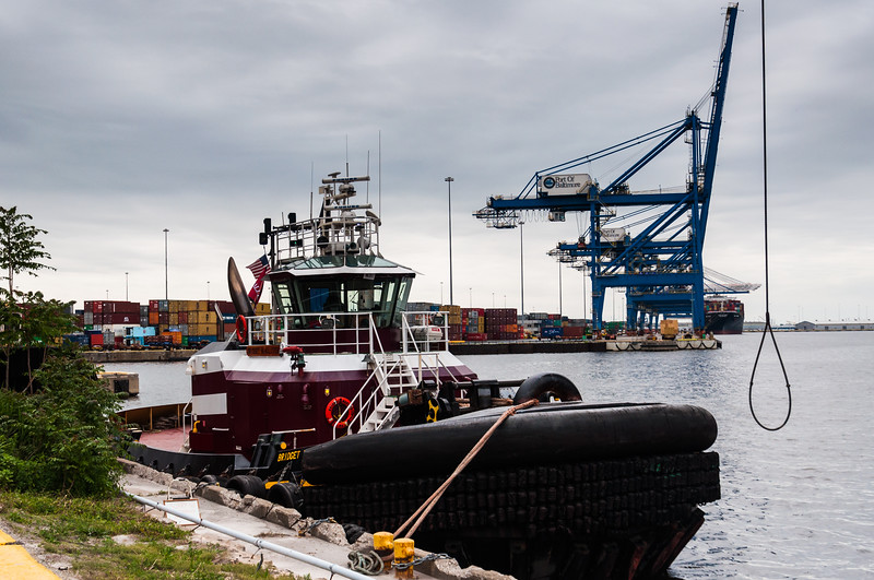 Tugboat and Cranes, Baltimore Harbor, MD