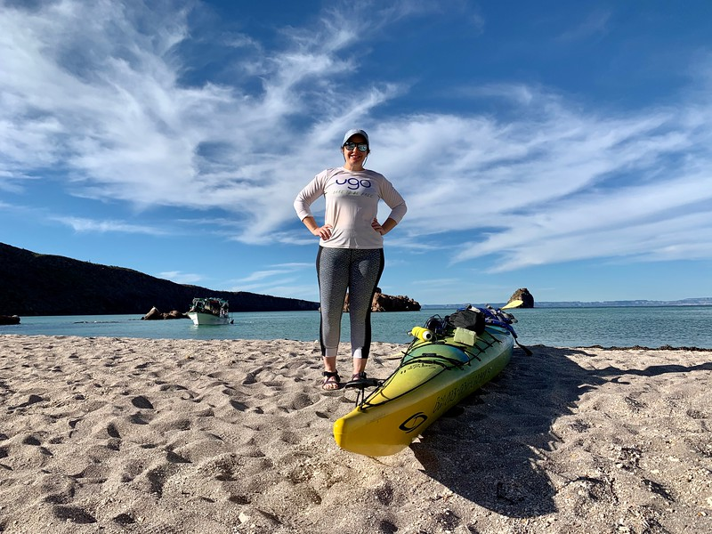 Lina Stock of Divergent Travelers  kayaking in Mexico - Isla Espiritu Santo