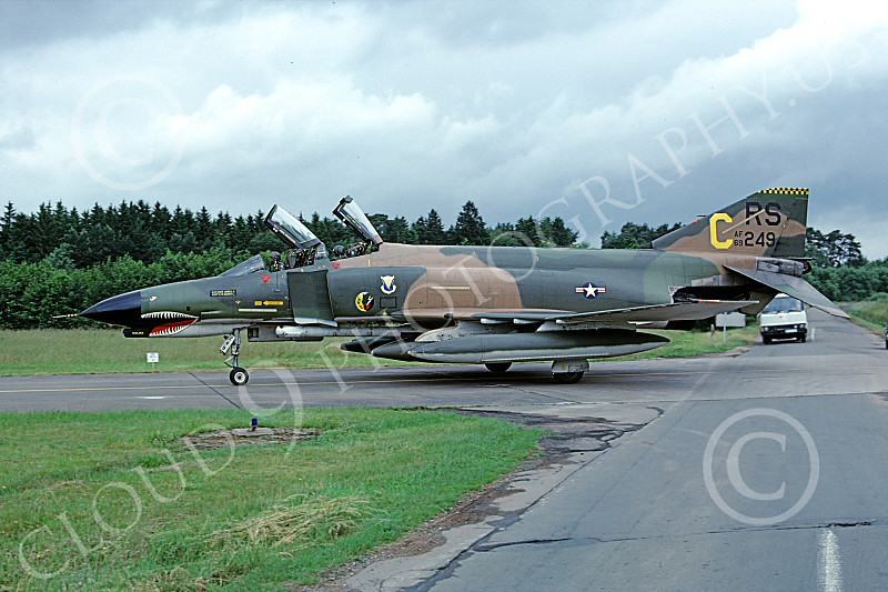 F-4USAF 00137 A taxing McDonnell Douglas F-4E Phantom II USAF 69249 86th TFS RS code SHARKMOUTH Ramstein 7-1980 military airplane picture by Peter Greve.JPG