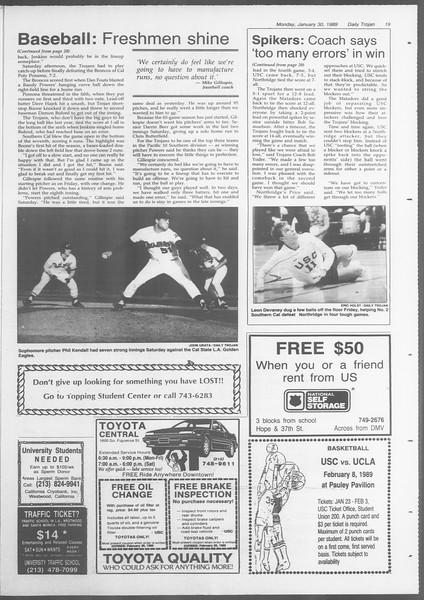 Daily Trojan, Vol. 108, No. 12, January 30, 1989