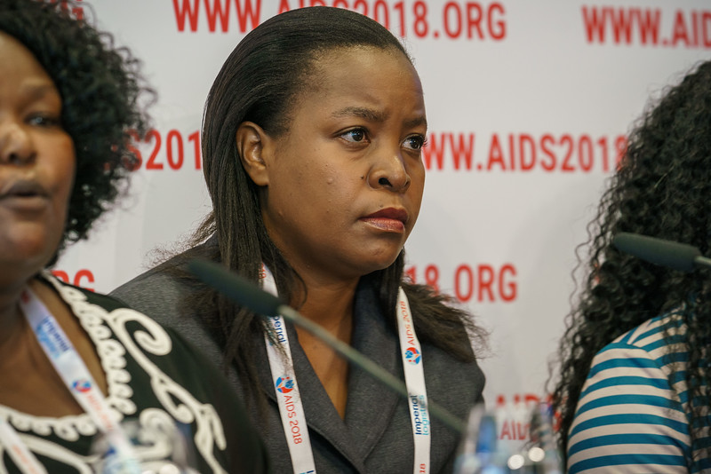 22nd International AIDS Conference (AIDS 2018) Amsterdam, Netherlands.   Copyright: Matthijs Immink/IAS  PRESS CONFERENCE Sex Workers & End Demand Policies  On the photo: Loveness Bowa Gunda