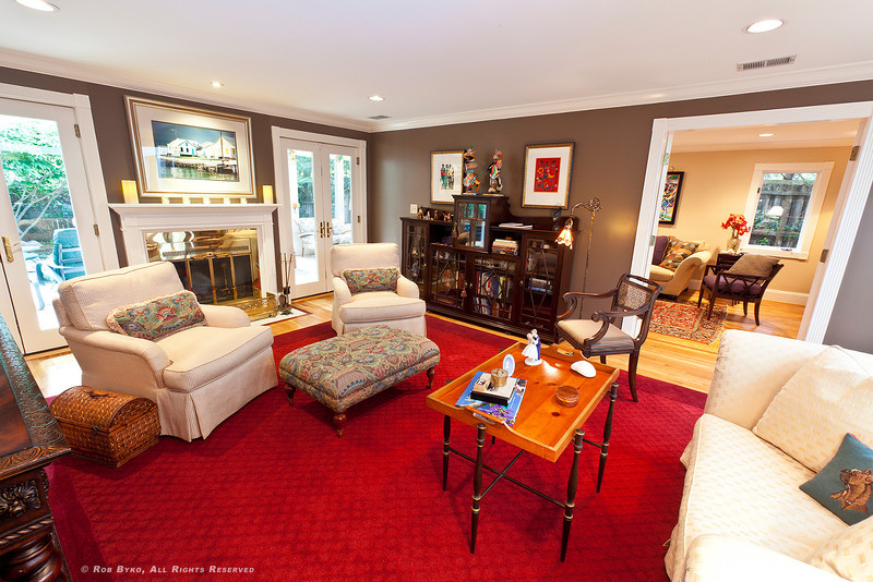 Living room, den.