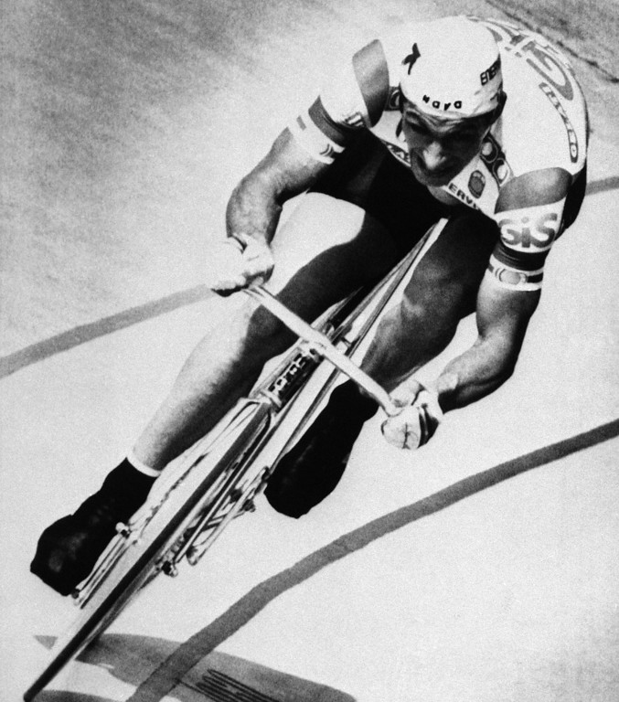 . Italian cyclist Francesco Moser rounds the final turn of his record setting ride at the Olympic Velodrome, in Mexico City, on Jan. 23, 1984. Moser set new world records for the 5 and 10 kilometres rides and also for the one hour ride. (AP Photo)