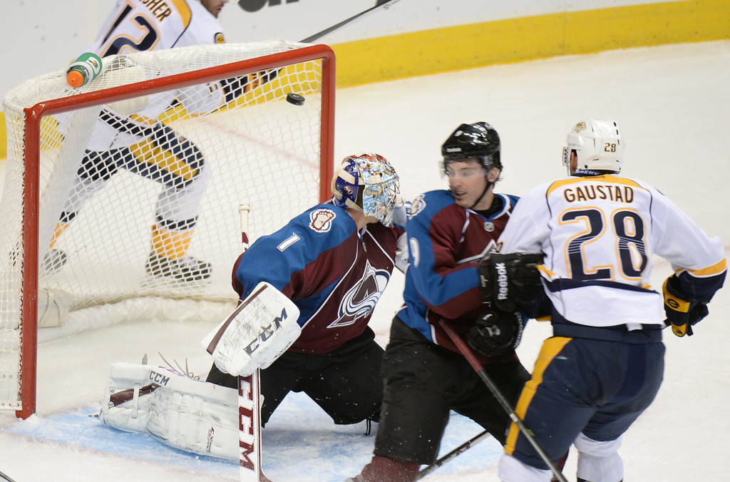 . DENVER, CO - OCTOBER 04 : Goalie Semyon Varlamov of Colorado Avalanche (1) scored by Paul Gaustad of Nashville Predators (28) in the 2nd period of the game at Pepsi Center. Denver, Colorado. October 4, 2013. (Photo by Hyoung Chang/The Denver Post)