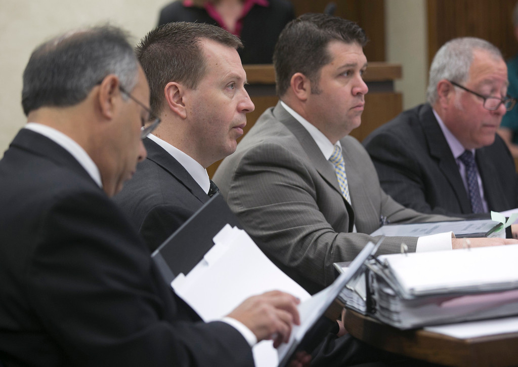 . Michael Allen Blair/MBlair@News-Herald.com Kevin Knoefel, second from left, and his defense team listen to testimony on day three of Knoefel\'s murder conspiracy trial on June 4, 2014.