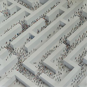 "Populus Conceptual ""The Maze"" - Alan, 44""x44"" original acrylic painting on canvas"