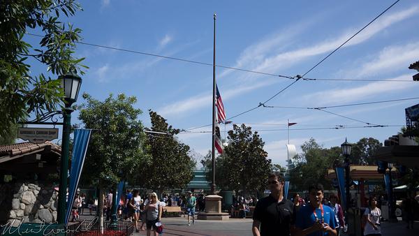 Disneyland Resort, Disney California Adventure, Buena Vista Street, Flag, Pole, Half, Staff, Respect, Victim