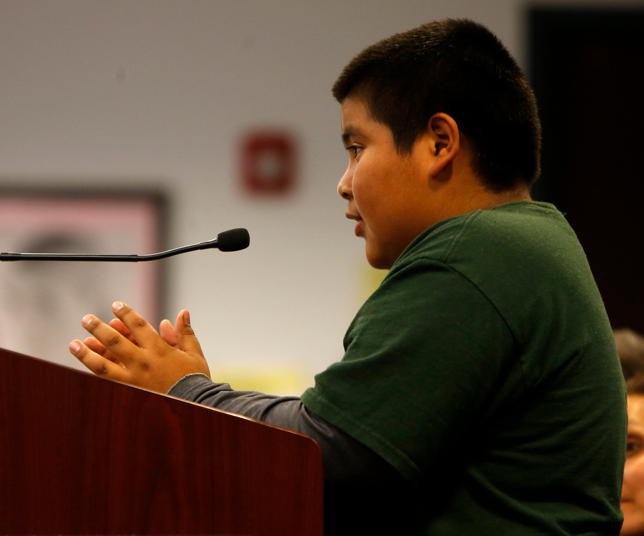 . Jesus Hernandez talks to the Santa Clara County Board of Education during public comment regarding Rocketship Education\'s petition to open a new school during a board meeting at the Santa Clara County Office of Education San Jose, Calif. on Wednesday, Jan. 23, 2013.  (Nhat V. Meyer/Staff)