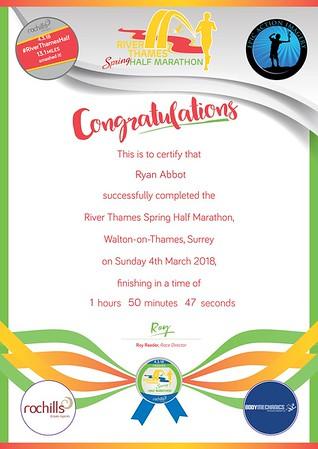 River Thames Spring Half Marathon 2018 Certificates